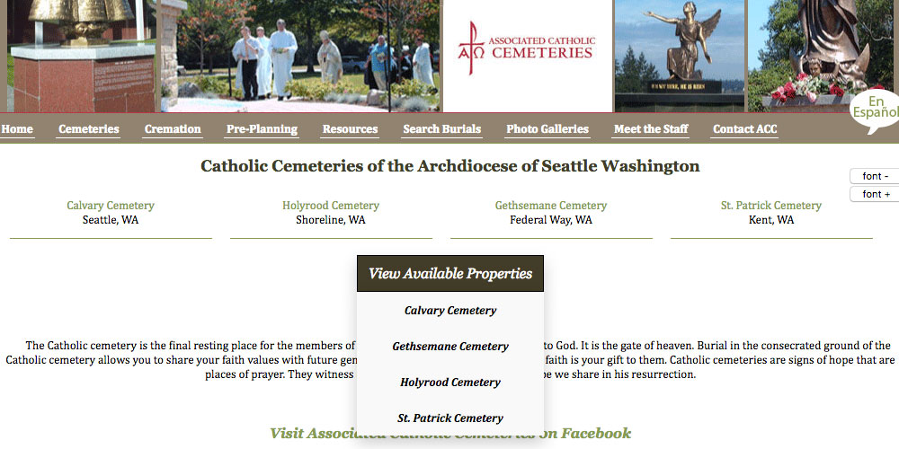 Archdiocese of Seattle Washington – CemLS® Website Integration