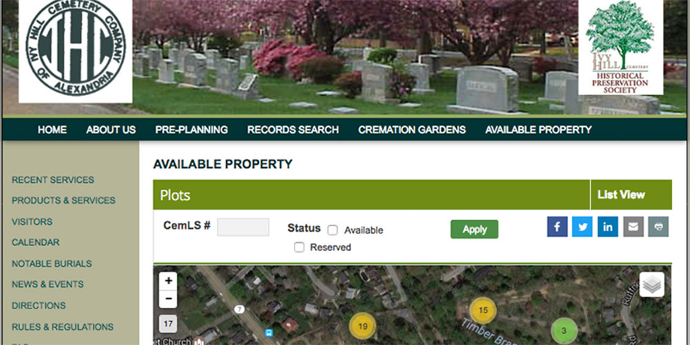 Ivy Hill Cemetery – CemLS® Website Integration